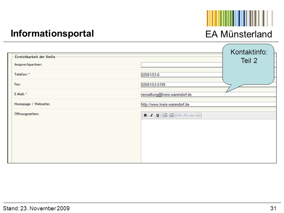 Informationsportal EA Münsterland Kontaktinfo: Teil 2