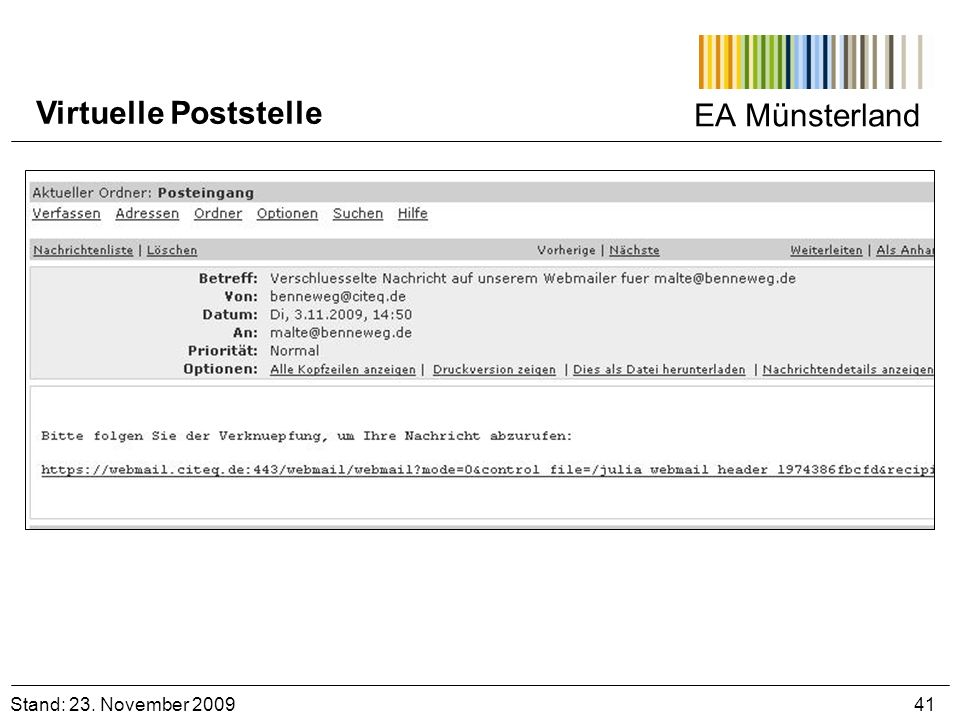 EA Münsterland Virtuelle Poststelle. Stand: 23.