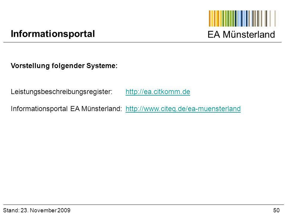 Informationsportal EA Münsterland Vorstellung folgender Systeme: