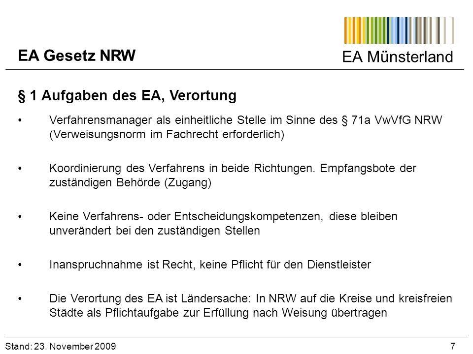 EA Gesetz NRW EA Münsterland § 1 Aufgaben des EA, Verortung