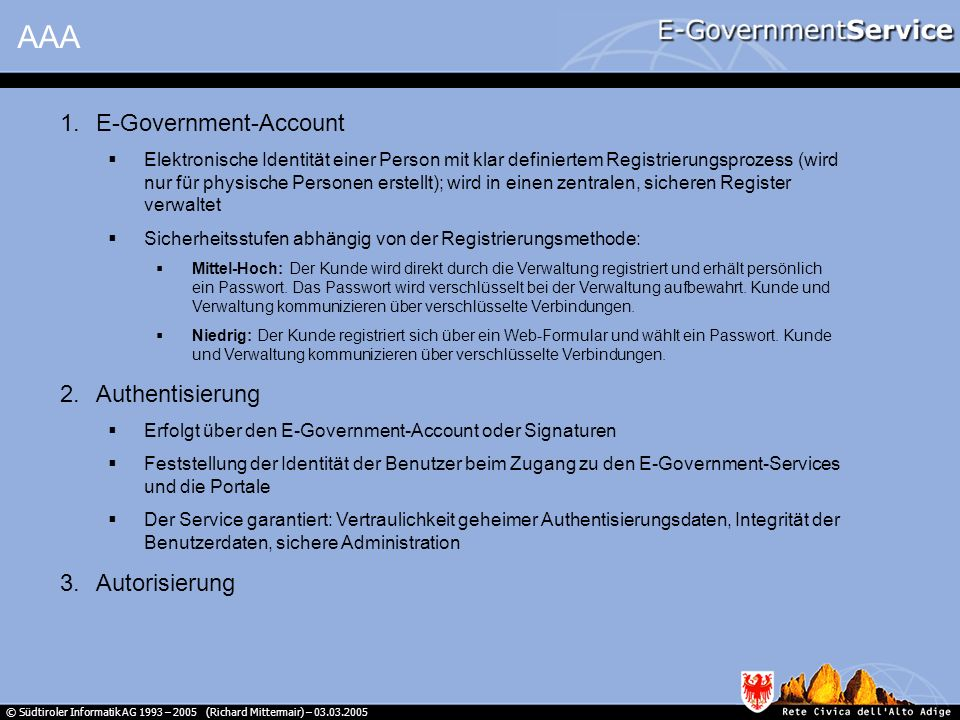 AAA E-Government-Account Authentisierung Autorisierung