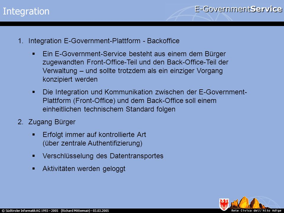 Integration Integration E-Government-Plattform - Backoffice