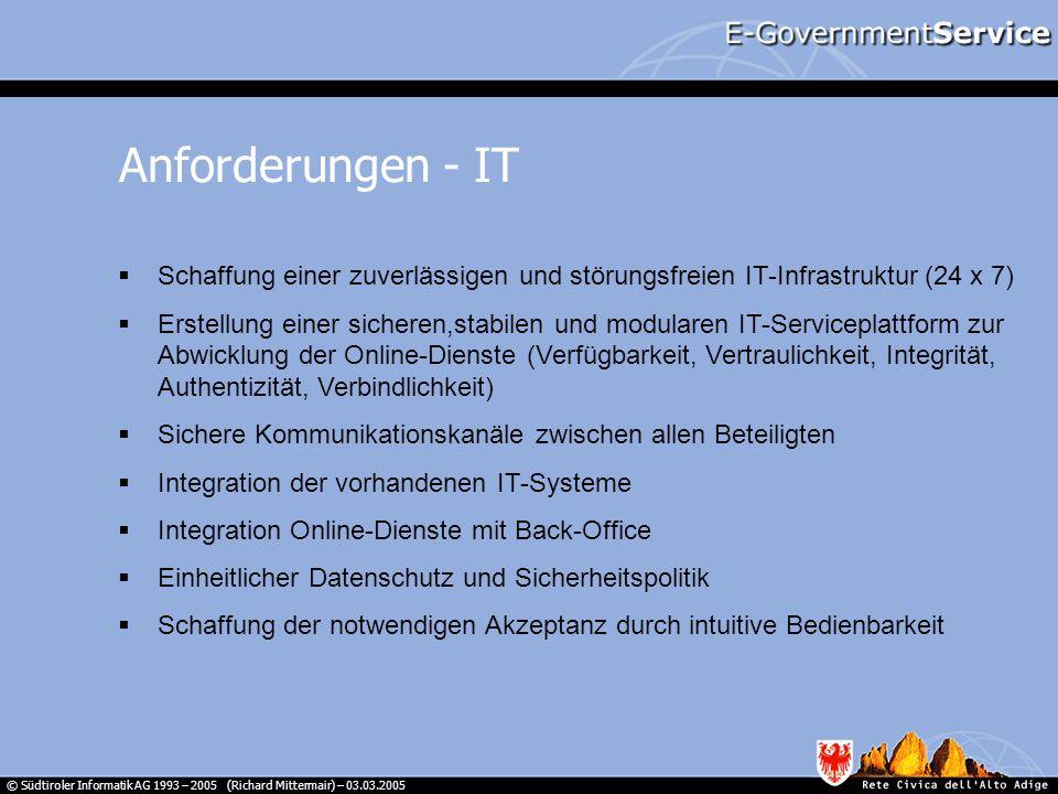 Anforderungen - IT Schaffung einer zuverlässigen und störungsfreien IT-Infrastruktur (24 x 7)