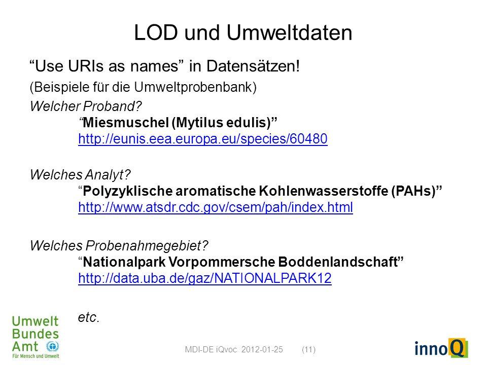 LOD und Umweltdaten Use URIs as names in Datensätzen!
