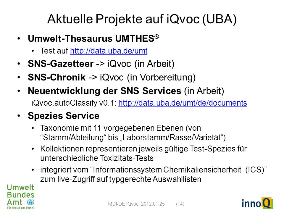 Aktuelle Projekte auf iQvoc (UBA)