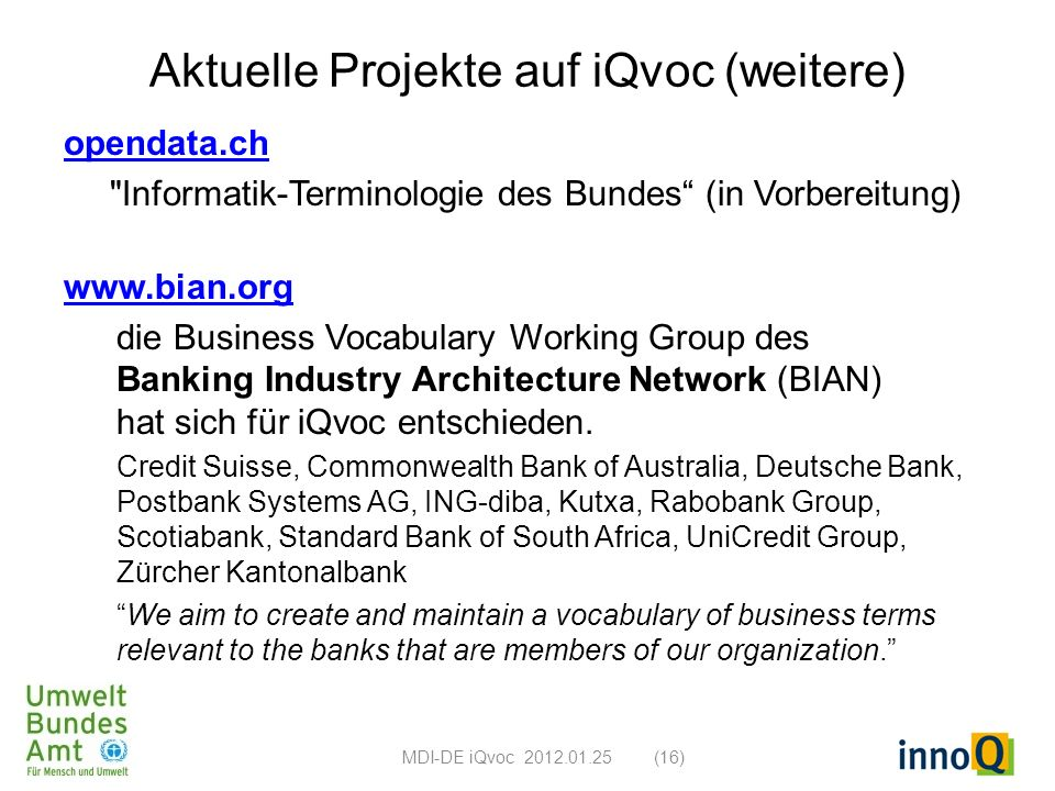 Aktuelle Projekte auf iQvoc (weitere)