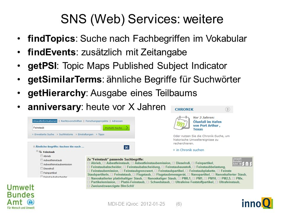 SNS (Web) Services: weitere