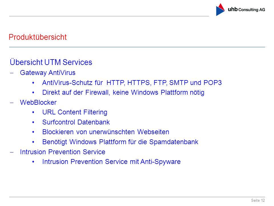 Übersicht UTM Services