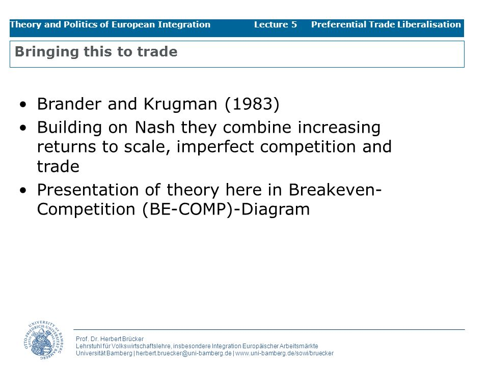 Presentation of theory here in Breakeven-Competition (BE-COMP)-Diagram