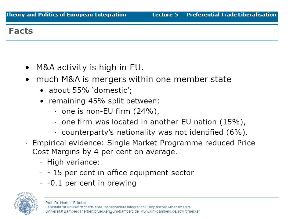 M&A activity is high in EU.