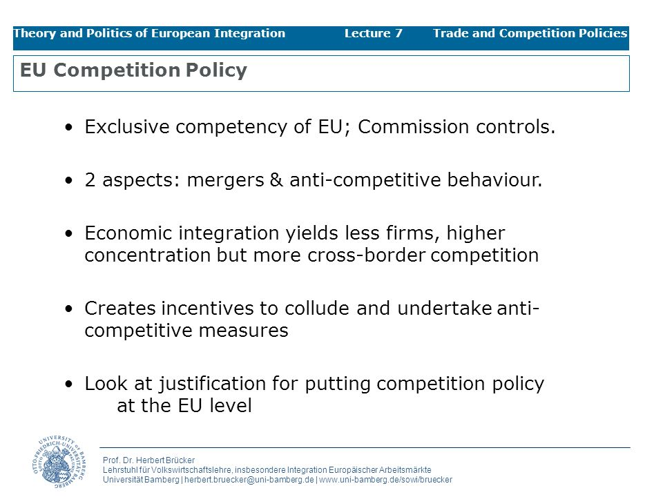 Exclusive competency of EU; Commission controls.
