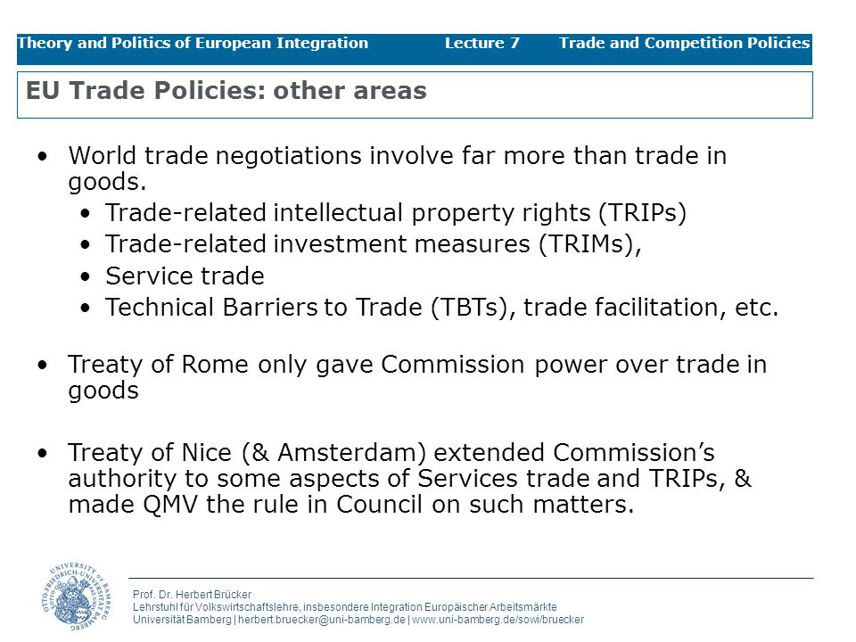 EU Trade Policies: other areas
