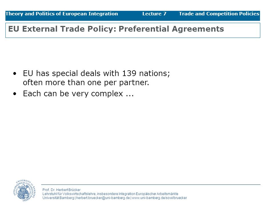 EU External Trade Policy: Preferential Agreements