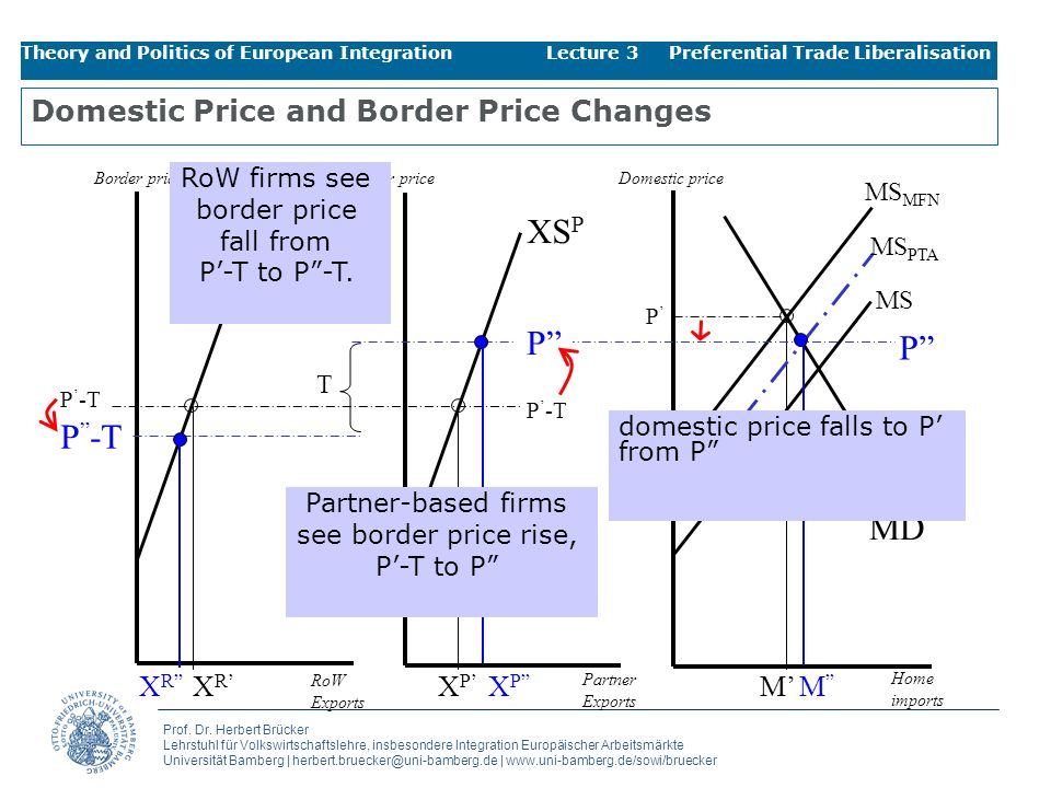 Domestic Price and Border Price Changes