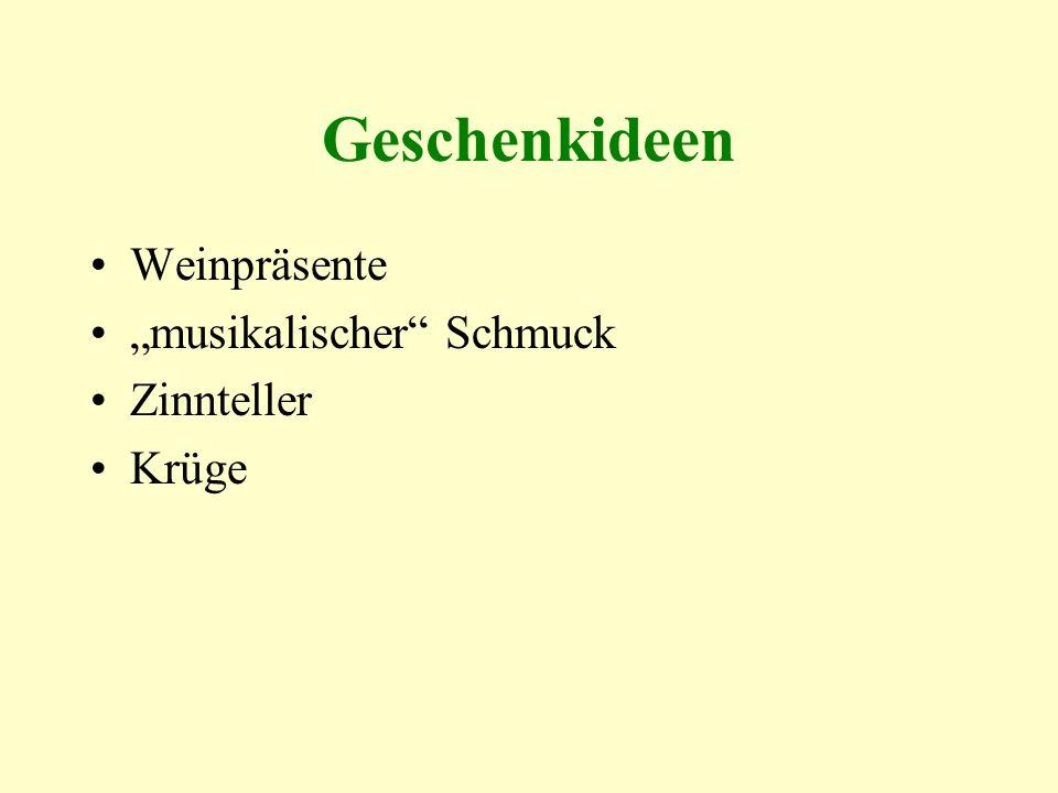 """Geschenkideen Weinpräsente """"musikalischer Schmuck Zinnteller Krüge"""