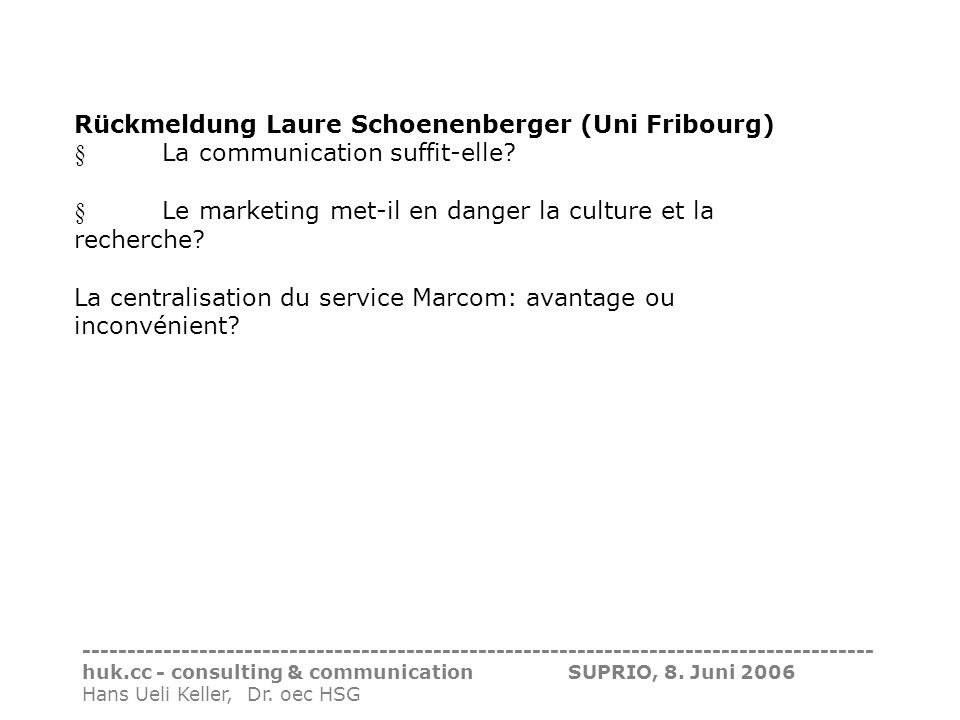 Rückmeldung Laure Schoenenberger (Uni Fribourg)