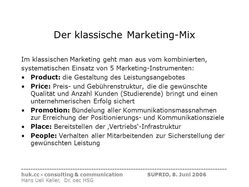 Der klassische Marketing-Mix