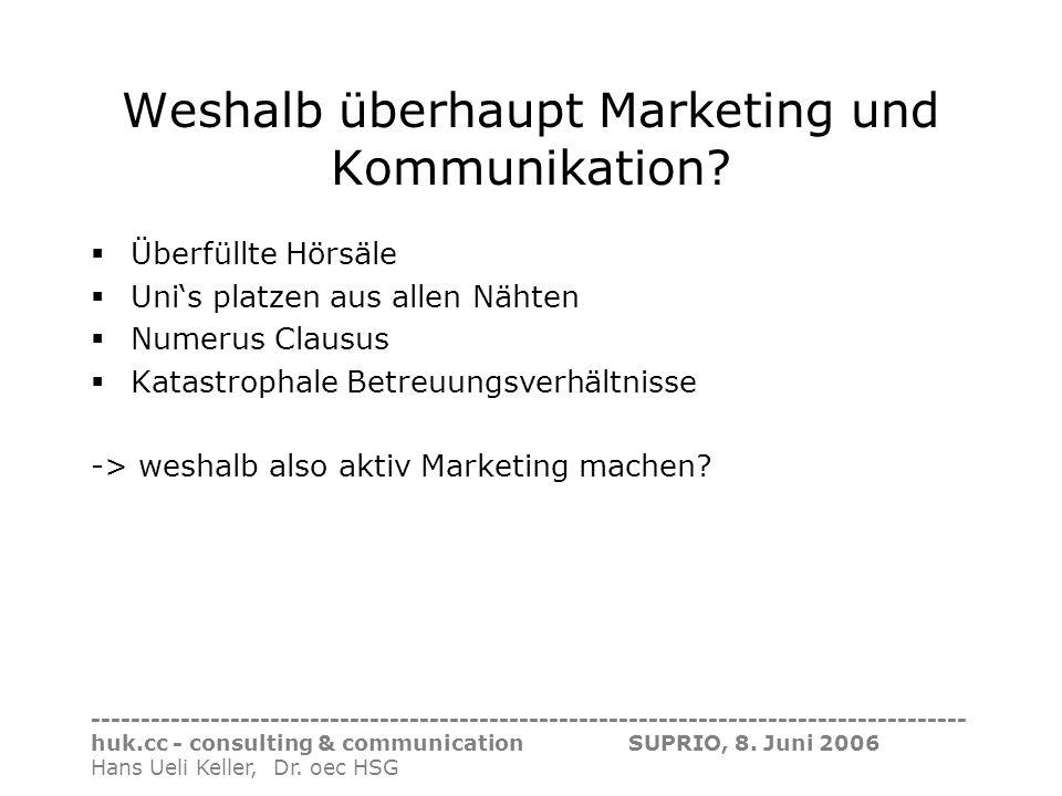 Weshalb überhaupt Marketing und Kommunikation