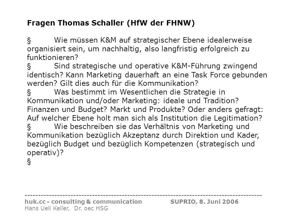 Fragen Thomas Schaller (HfW der FHNW)