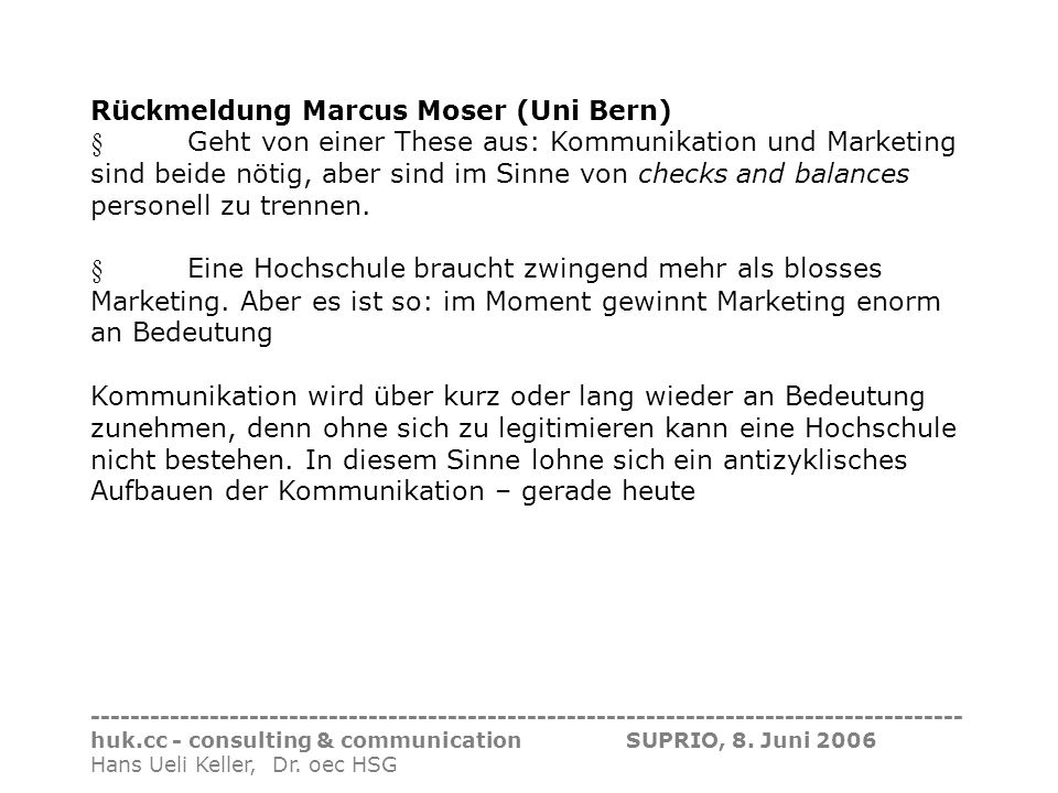 Rückmeldung Marcus Moser (Uni Bern)