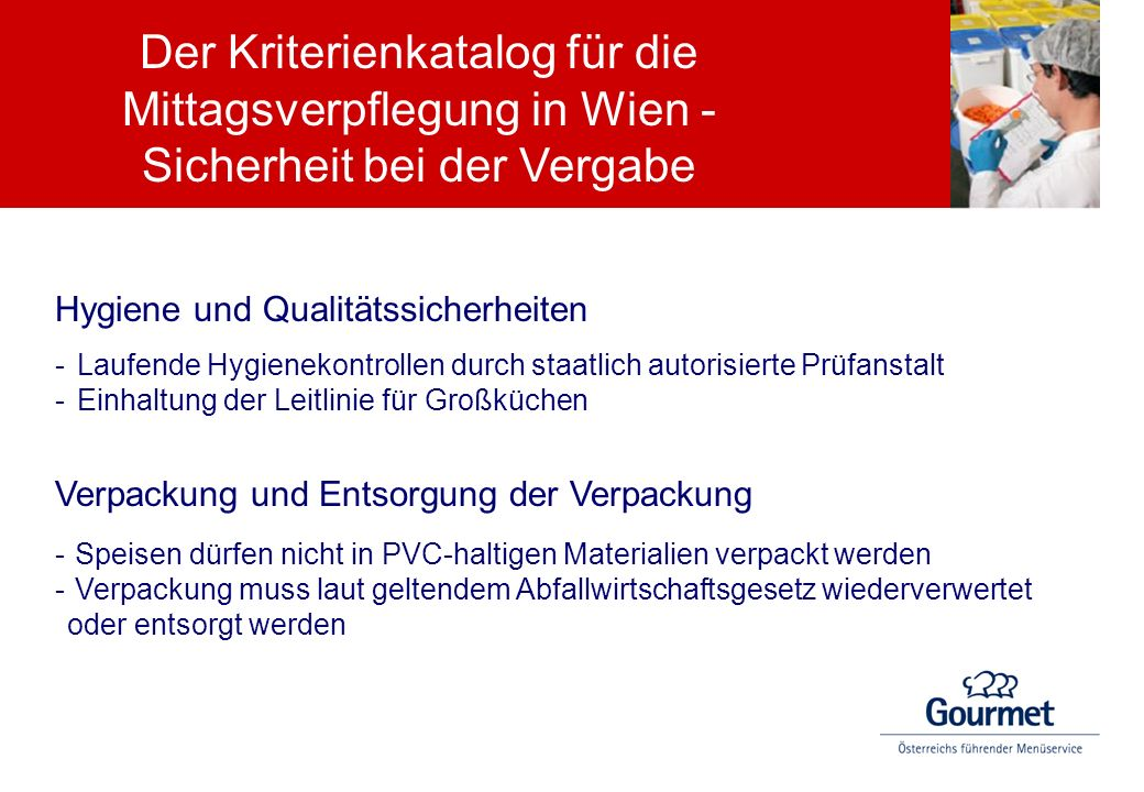 Der Kriterienkatalog für die Mittagsverpflegung in Wien - Sicherheit bei der Vergabe