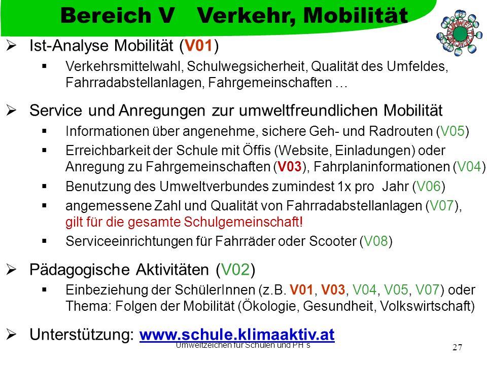 Bereich V Verkehr, Mobilität