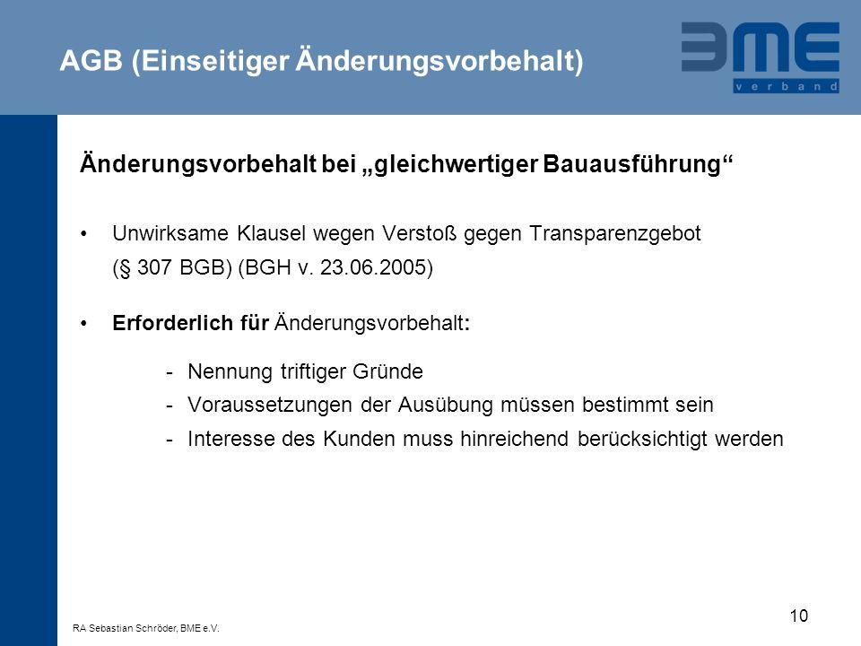 AGB (Einseitiger Änderungsvorbehalt)