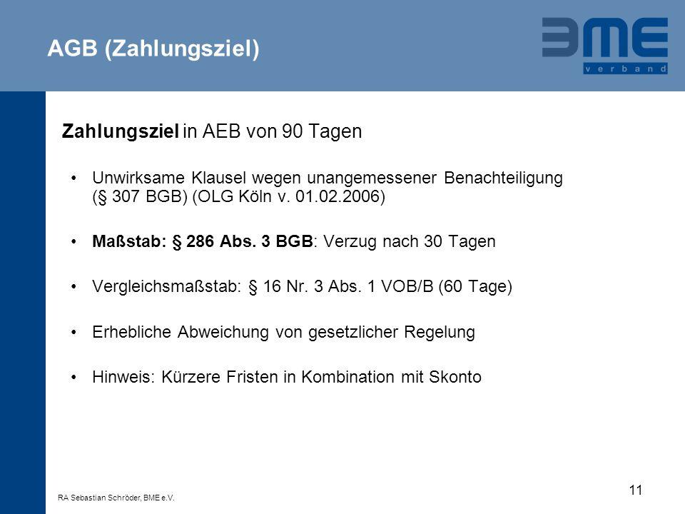 AGB (Zahlungsziel) Zahlungsziel in AEB von 90 Tagen