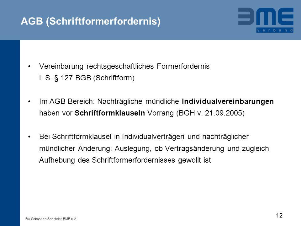 AGB (Schriftformerfordernis)