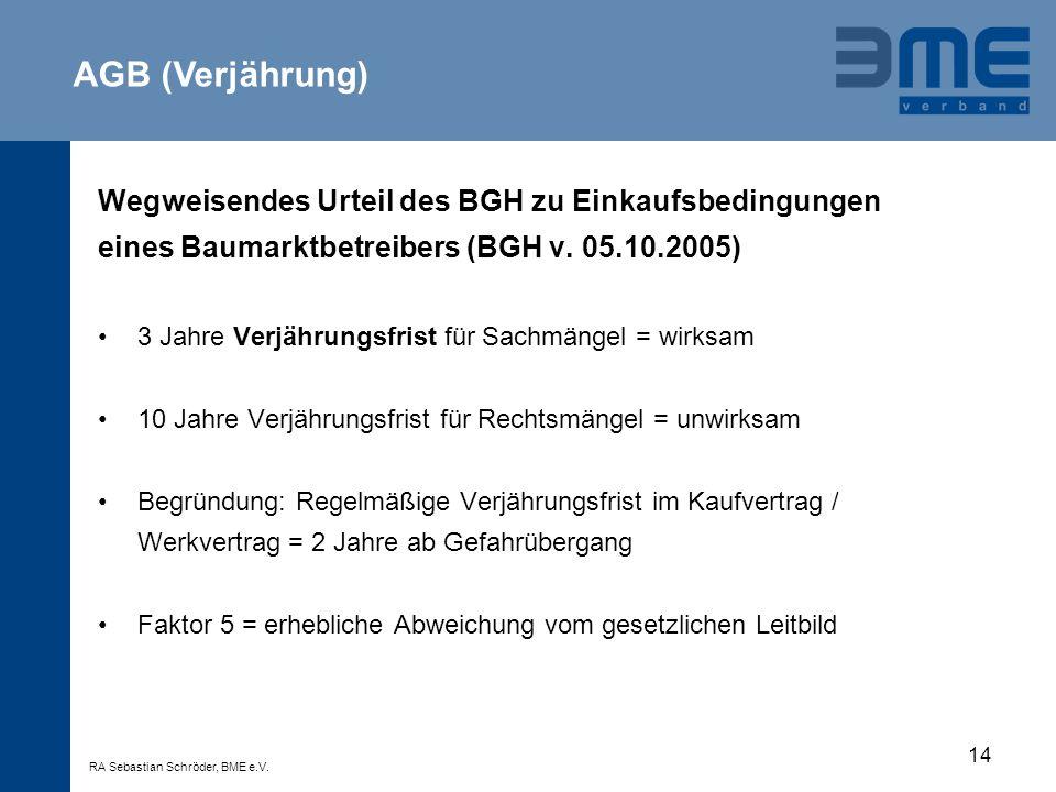 AGB (Verjährung) Wegweisendes Urteil des BGH zu Einkaufsbedingungen
