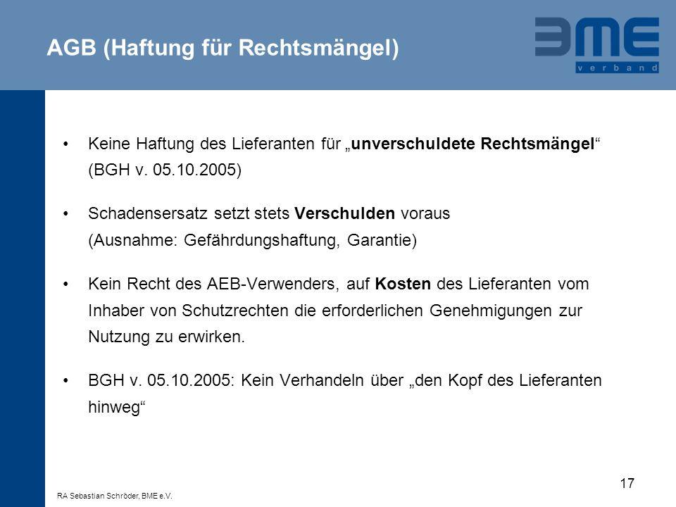AGB (Haftung für Rechtsmängel)