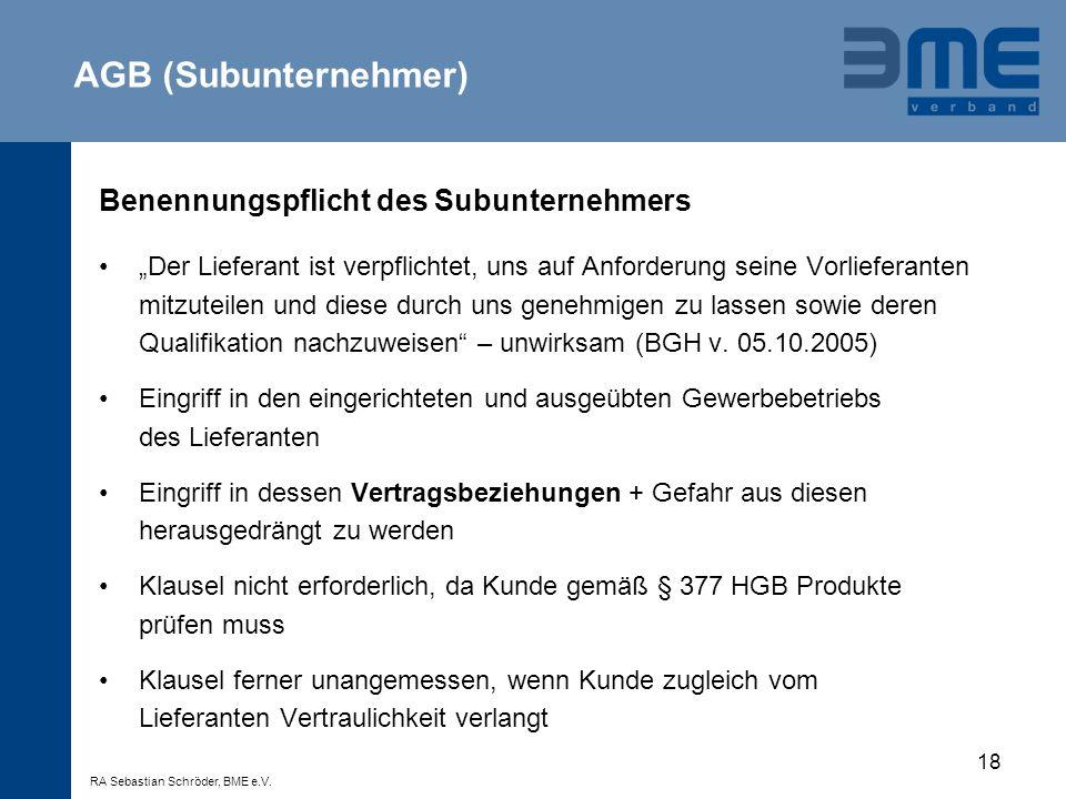 AGB (Subunternehmer) Benennungspflicht des Subunternehmers