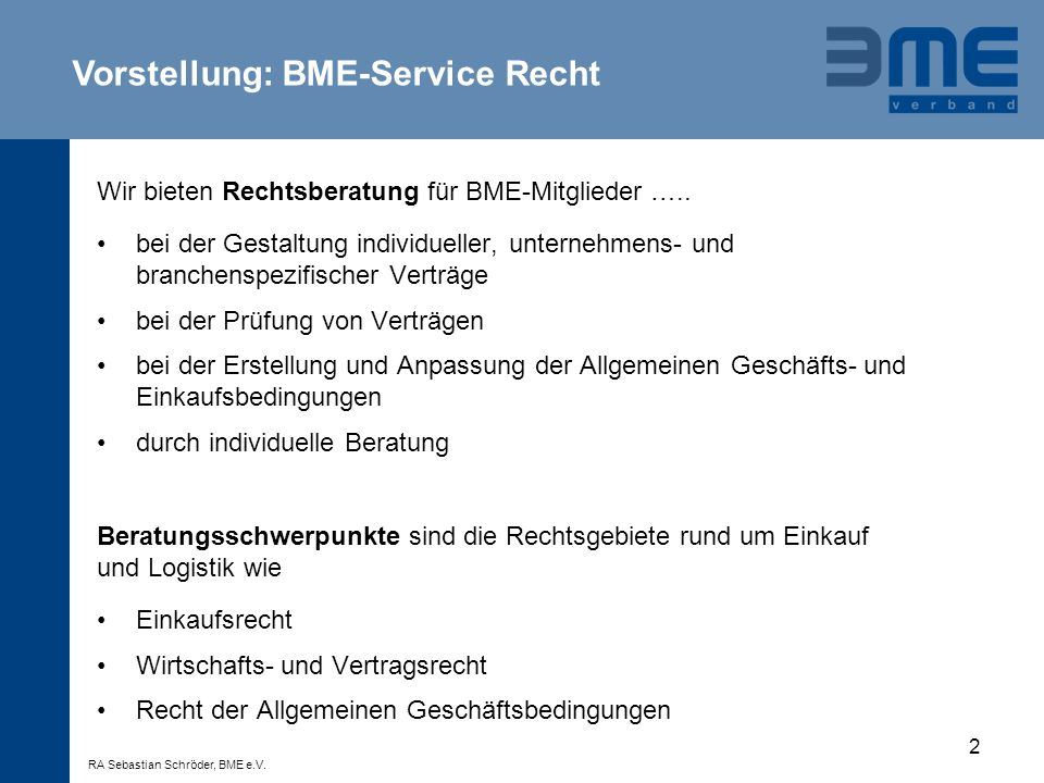 Vorstellung: BME-Service Recht