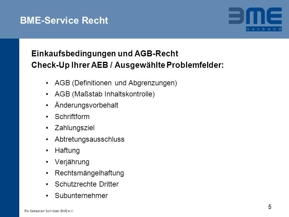 BME-Service Recht Einkaufsbedingungen und AGB-Recht