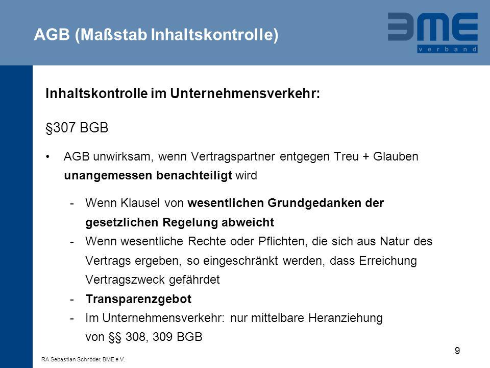 AGB (Maßstab Inhaltskontrolle)