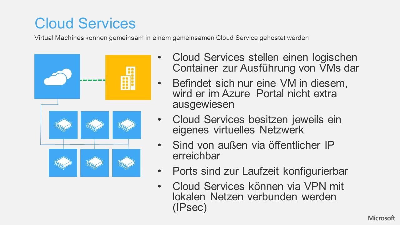 Cloud Services Virtual Machines können gemeinsam in einem gemeinsamen Cloud Service gehostet werden.