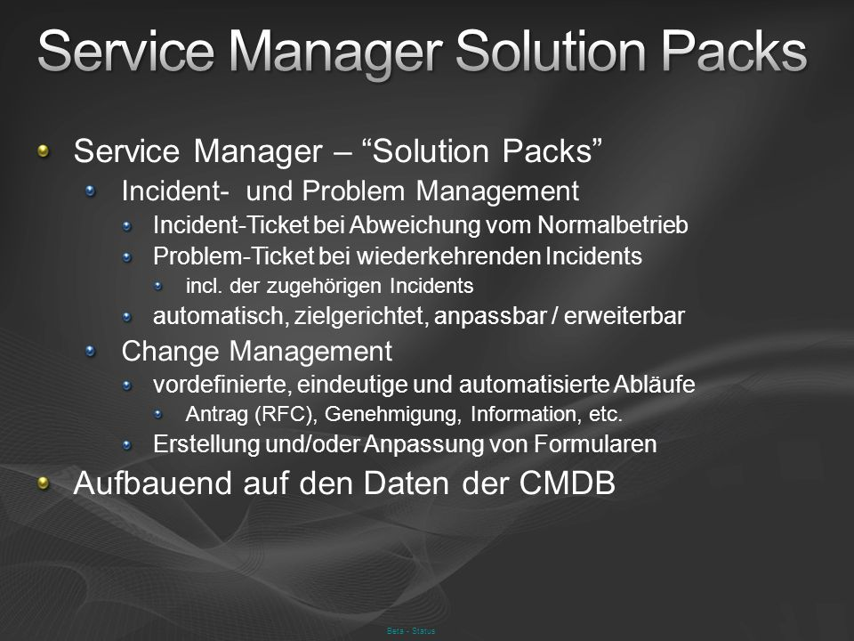 Service Manager Solution Packs