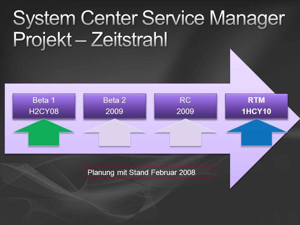 System Center Service Manager Projekt – Zeitstrahl