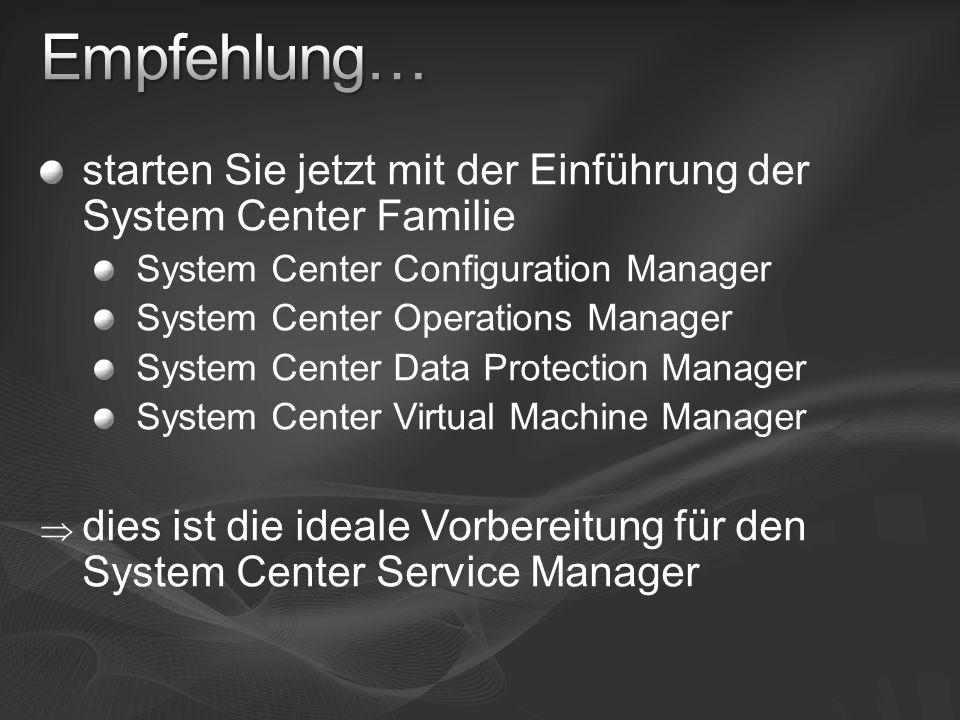 Empfehlung… starten Sie jetzt mit der Einführung der System Center Familie. System Center Configuration Manager.