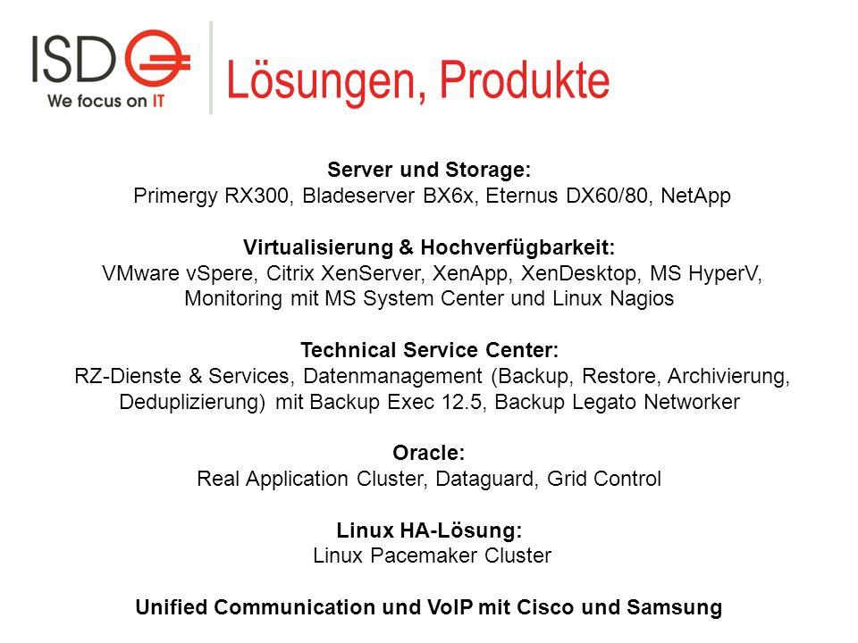 Lösungen, Produkte Server und Storage: