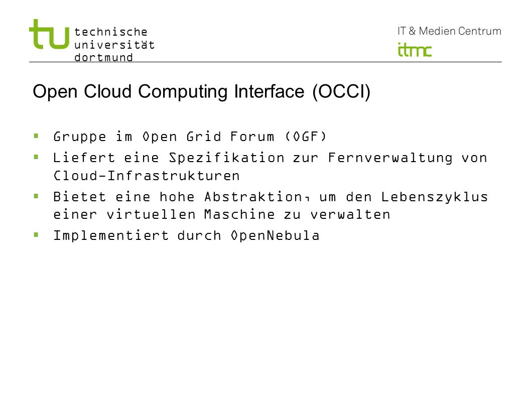 Open Cloud Computing Interface (OCCI)