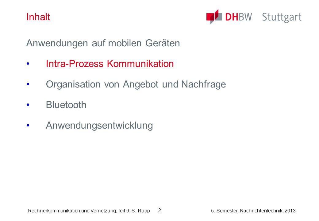 Inhalt Anwendungen auf mobilen Geräten. Intra-Prozess Kommunikation. Organisation von Angebot und Nachfrage.