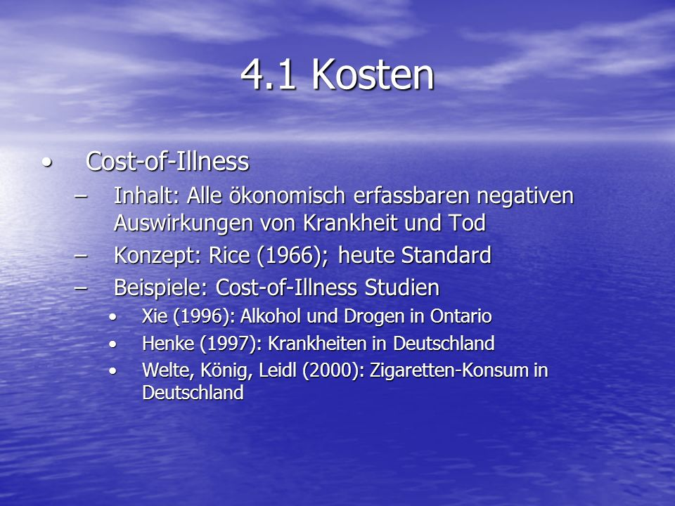 4.1 Kosten Cost-of-Illness