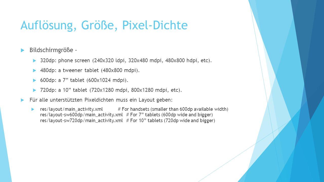 Auflösung, Größe, Pixel-Dichte