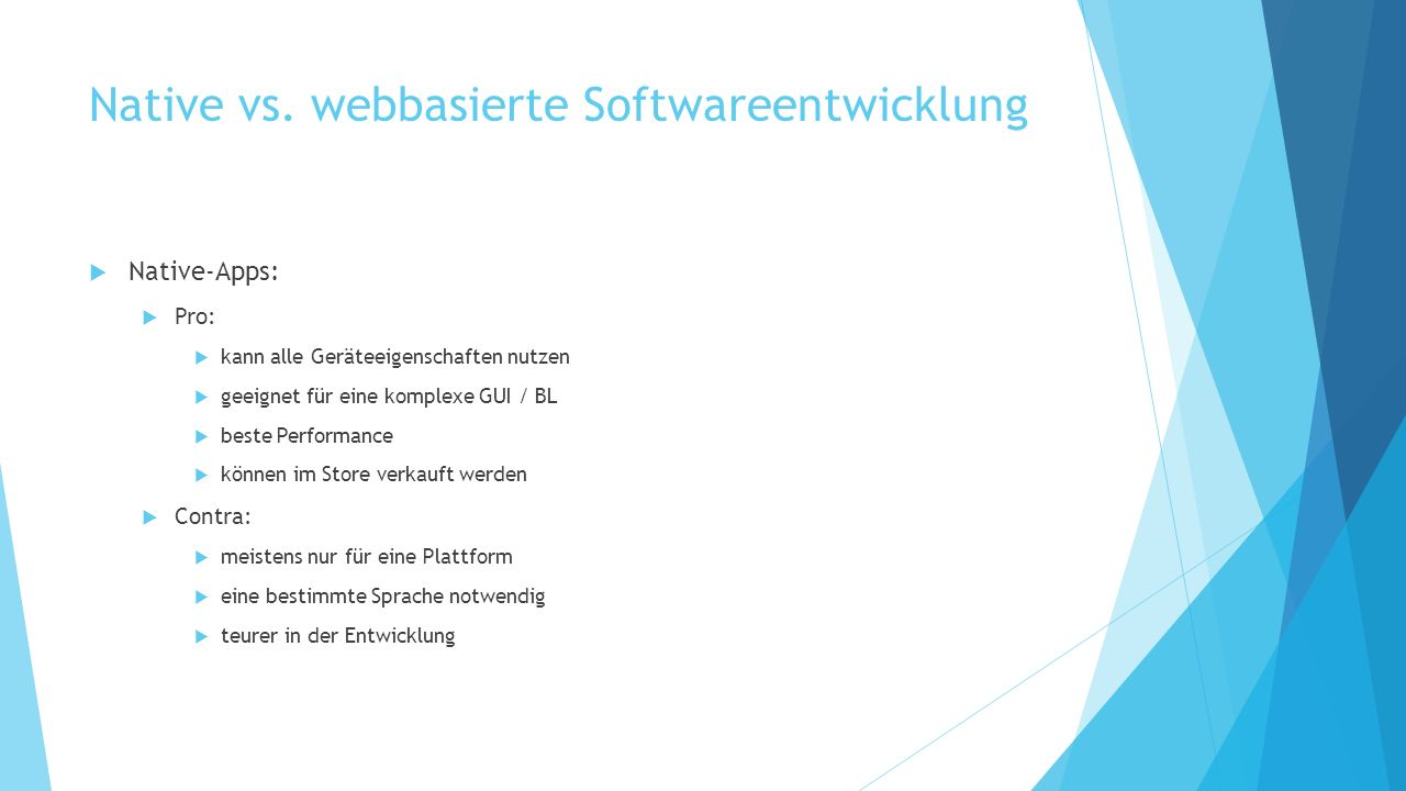 Native vs. webbasierte Softwareentwicklung