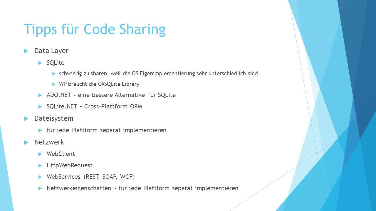 Tipps für Code Sharing Data Layer Dateisystem Netzwerk SQLite