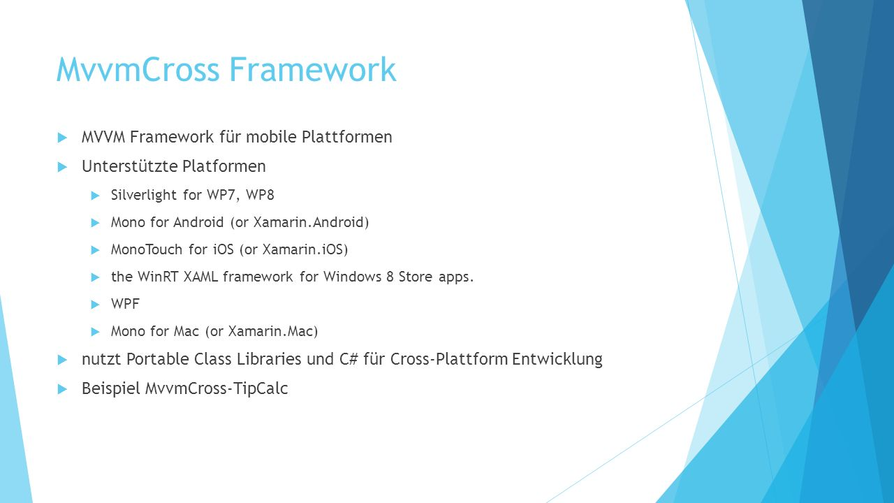 MvvmCross Framework MVVM Framework für mobile Plattformen