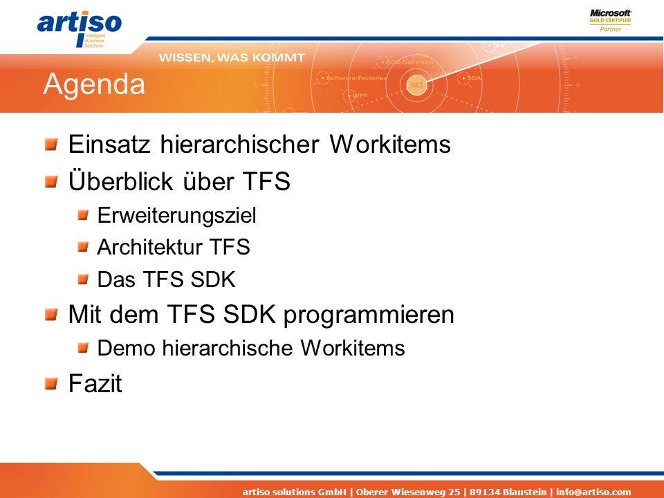 Agenda Einsatz hierarchischer Workitems Überblick über TFS