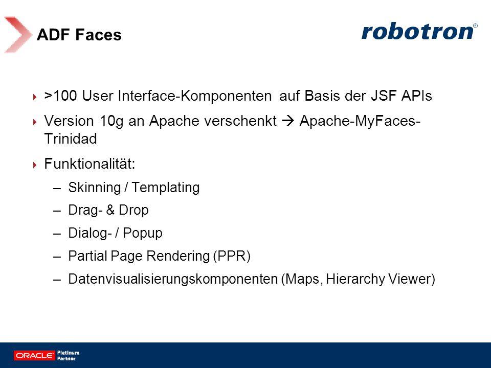 ADF Faces >100 User Interface-Komponenten auf Basis der JSF APIs