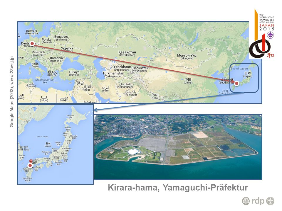 Google Maps (2013), www.23wsj.jp Kirara-hama, Yamaguchi-Präfektur